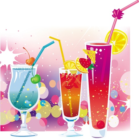 poolside: Cocktail on defocused illumination background