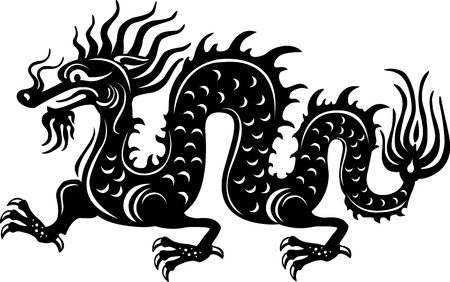 dragon tattoo: Black and white dragon Illustration