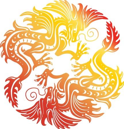 Two gold dragon