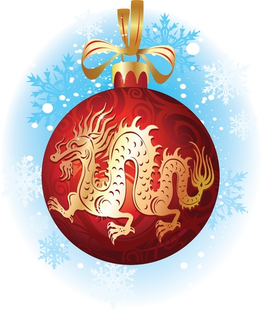 christmas dragon: Christmas ball with dragon