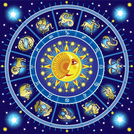 pisces star: Horoscope circle Illustration