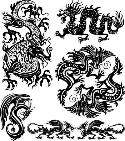 dragon tattoo: Set of dragon