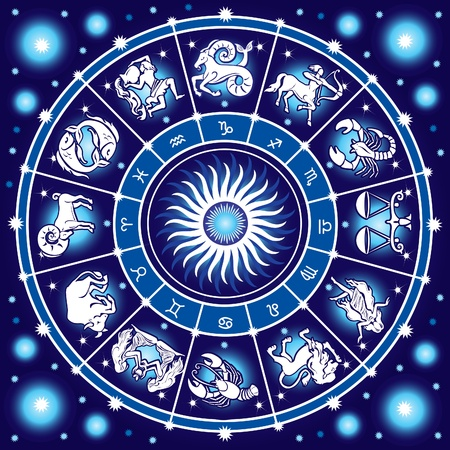 aquarius star: Horoscope circle Illustration