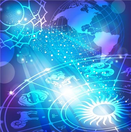 constelaciones: Fondo azul con un horóscopo