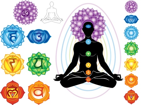sahasrara: Silhouette of man with symbols of chakra