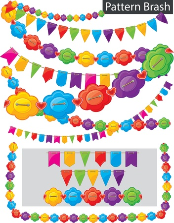 holiday garland: Pattern brash - garland of flowers and flags Illustration