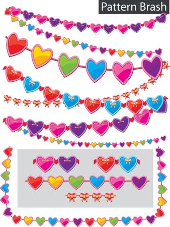 Pattern brash - garland of hearts Vector