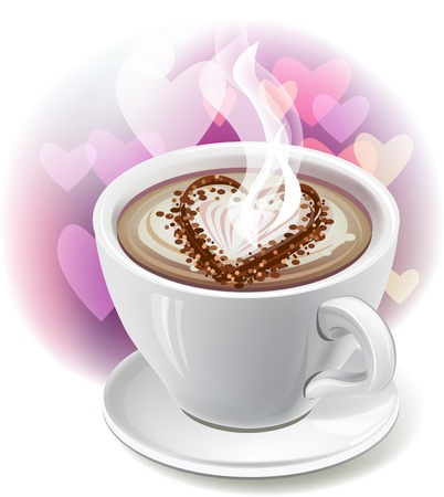 A cup of coffee with heart-shaped decoration