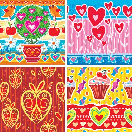 Set of pattern with hearts. Vector