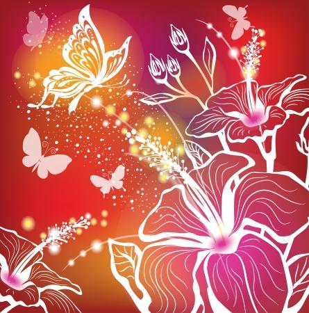 beautiful red hibiscus flower: Fondo con las flores de hibisco y la mariposa
