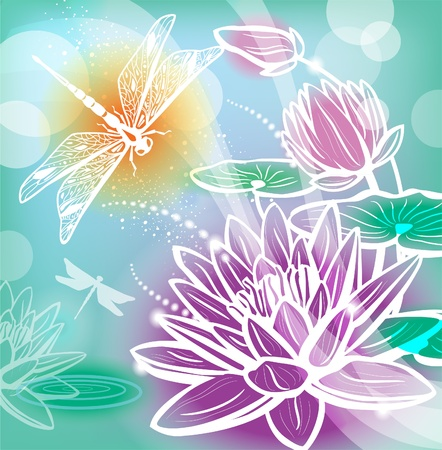 lotus flower: Background with flowers lotus and dragonfly Illustration