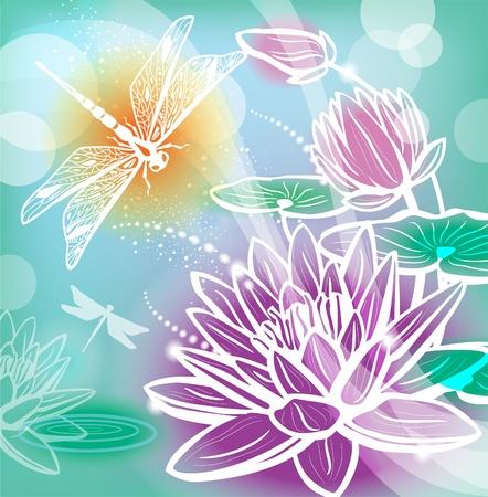 flor de loto: Fondo con las flores de loto y la lib�lula