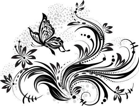 floral ornaments: Floral design element and butterfly Illustration