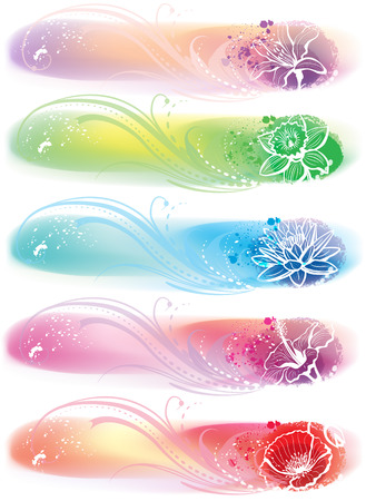 header label: Set of banner with flower heads