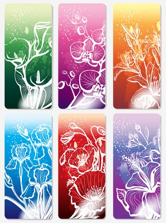lily flowers collection: Set of stickers with flower Illustration