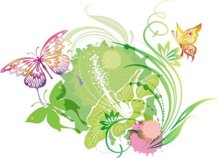 ilustración con las mariposas y las flores del hibisco Ilustración de vector