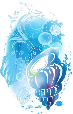 illustration with a seashell Vector