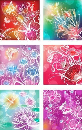 Set of illustrations with flowers Vector