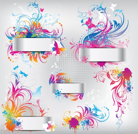 Set of banners with floral ornament Vector