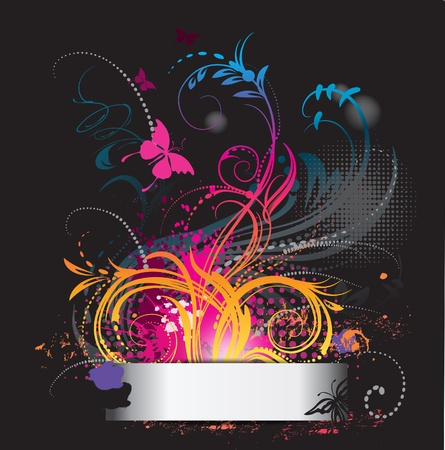 Background with flower ornament with butterfly