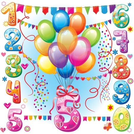 verjaardag ballonen: Hartelijk gefeliciteerd ballonnen en cijfers Stock Illustratie