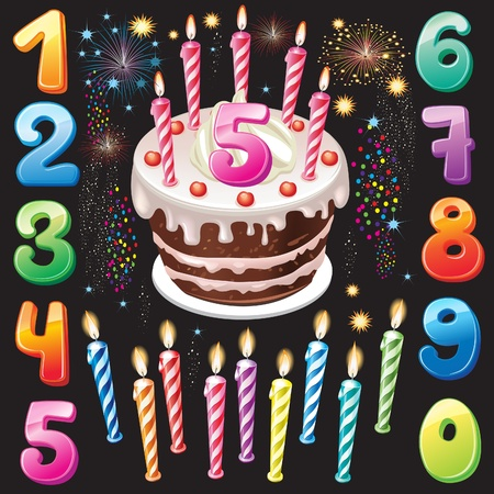 Happy Birthday cake, numbers and firework Stock Vector - 13043770