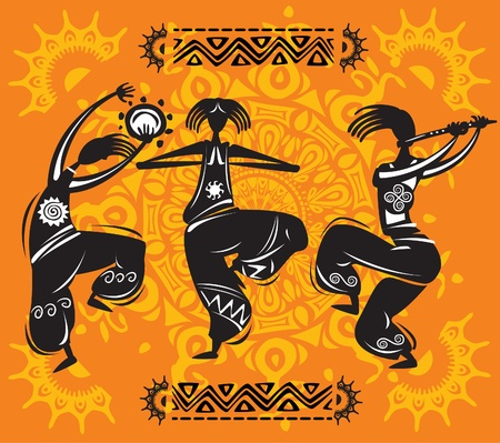 aboriginal woman: Dancing figures Illustration