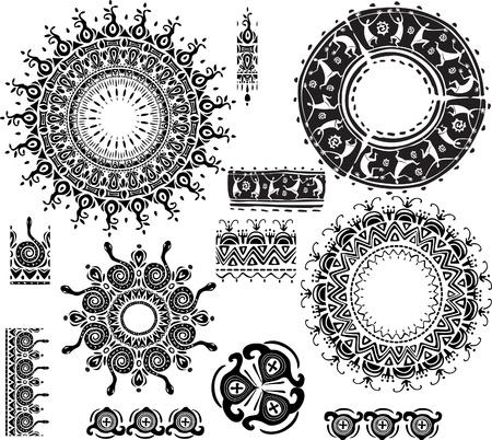 этнический: Круглая декоративная рамка Иллюстрация