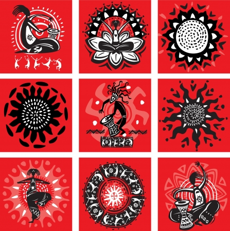 Set of pictures with ethnic motifs Stock Vector - 13825755