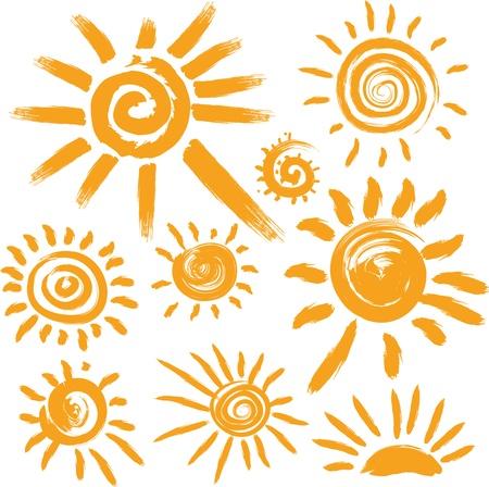 rayos de sol: Conjunto de símbolos de sol a mano Vectores