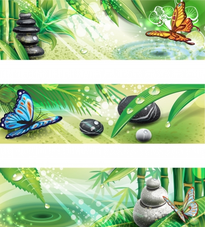 wellness environment: Three horizontal banners with background of a SPA Illustration
