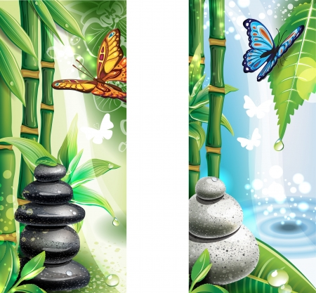 wellness environment: Vertical banners with background of a SPA Illustration