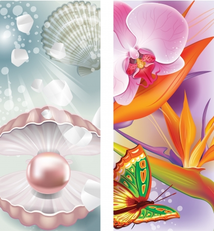 vertical wellness: Vertical banners with pearl and flowers Illustration
