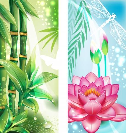 Bannières verticales avec des bambous et lotus Banque d'images - 15064033