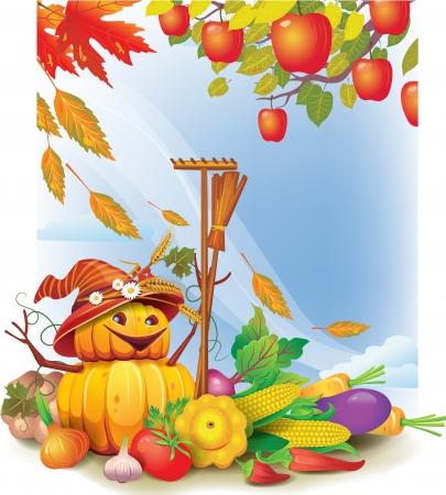 szeptember: Háttér őszi levelek és zöldség Illusztráció