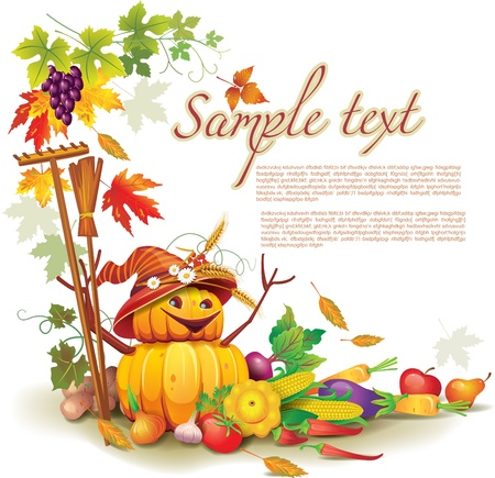 autumn garden: Template on a theme on the autumn harvest Illustration
