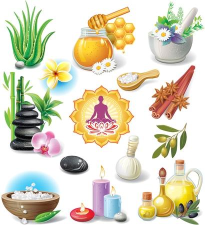 erva: Jogo de símbolos de tratamento de spa