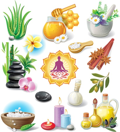 yoga meditation: Set of spa treatment symbols Illustration