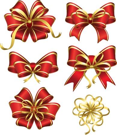 Set van rode cadeau bogen Stock Illustratie