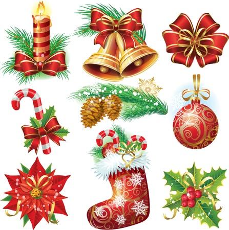 hulst: Kerst objecten Stock Illustratie