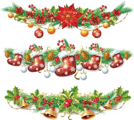 flor de pascua: Guirnalda de Navidad Vectores