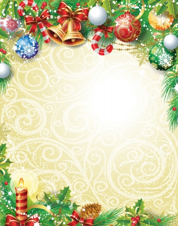 Vintage Kerst achtergrond Stock Illustratie