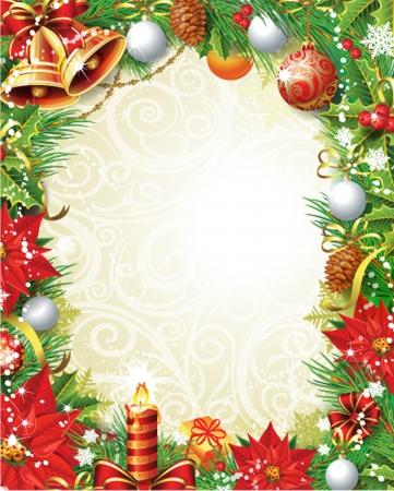 campanas navidad: Vintage Marco de la Navidad Vectores