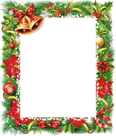 fir tree balls: Christmas frame