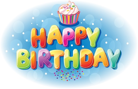 Happy birthday text Stock Vector - 17141695