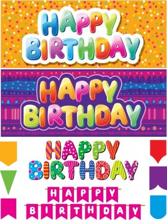 birthday wishes: Set of colorful happy birthday texts