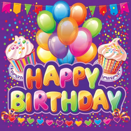 Happy birthday text on background with party elemen