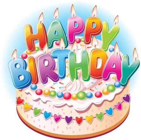 felicitaciones cumpleaÑos: Torta de cumpleaños Vectores