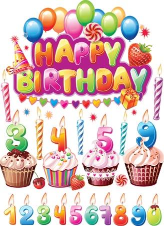 torta candeline: Set per le carte di compleanno Vettoriali