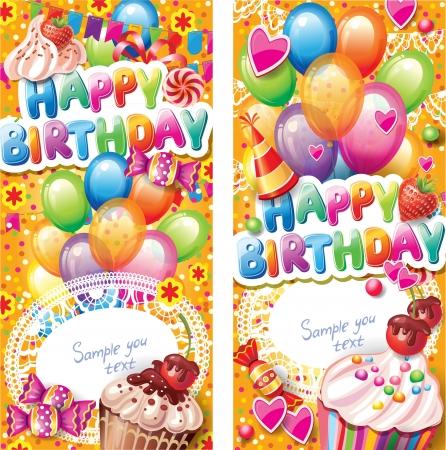 垂直方向の幸せな誕生日カード  イラスト・ベクター素材